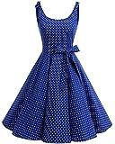 Bbonlinedress Vestidos de 1950 Estampado Vintage Retro Cóctel Rockabilly con Lazo Royalblue White Dot M