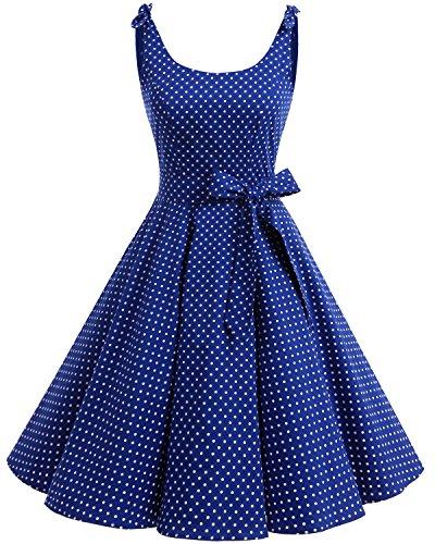 Bbonlinedress 1950er Vintage Polka Dots Pinup Retro Rockabilly Kleid Cocktailkleider Royalblue White Dot M