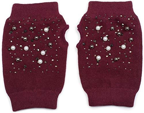 styleBREAKER Guanti senza dita da donna a maglia fine con perle e strass, guanti invernali in maglia 09010016, colore:Bordò-Rosso