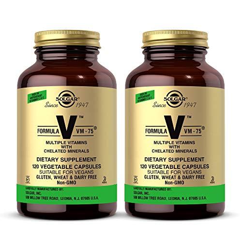 Solgar Formula VM-75, 120 Vegetable Capsules - Pack of 2 - Vitamin A, B6, B12, C, D, E - Biotin, Magnesium, Calcium, Copper, Iron, Zinc, Folic Acid, Niacin - Non-GMO, Vegan - 120 Total Servings
