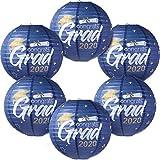 Blulu 6 Piezas Linternas de Papel Impresa de Felicitación Grad 2020 de Fiesta de Graduación Tonos de Farolillos de Papel Redondo para Decoración Fiesta Graduación, 11,8 x 11 Pulgadas(Oro Azul)