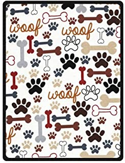 Hot Sell Super Soft Dog and Dog Paw Prints Blanket 58