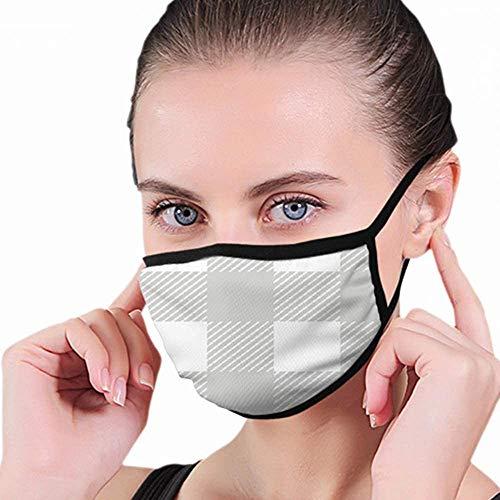NA Mond Masker, Wit Lichtgrijs Plaid Vintage Unisex Anti-Dust Gezicht Mond Muffel Masker Winddicht Motorfiets Gezicht Emoticon Maskers