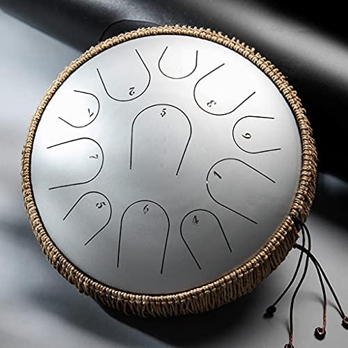 NXYJD TSHGYQ 13 Pulgadas 15 Tonos D Llave de Acero Tambor de la Lengua de Acero Revestimiento de Percussion Instrumentos de percusión Profesional meditación de Accesorios de Tambor (Color : Silver)