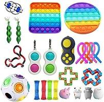 Qisen Fidget Toy Set, Sensory Toy, 26 stuks Fidget Pack, Fidget Set met Simple Dimple Fidget Toy Marble Mesh Push Pop...