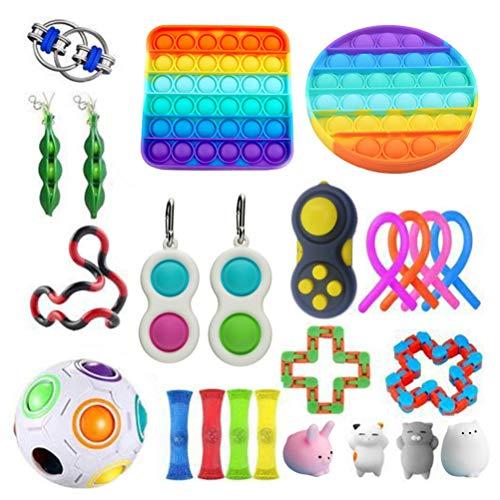 Qisen Fidget Toy Set, Sensory Toy, 24Pcs Fidget Pack, Fidget Set with Simple Dimple Fidget Toy Infinite Cube Push Pop Bubble Fidget Sensory Toy, Stress Relief Gifts for Kids Girls Boys Family