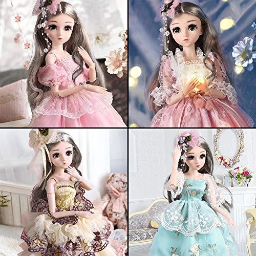 foyar 18 Zoll BJD Puppen, Prinzessin Puppe, 1/4 SD Puppe 19 Kugelgelenk Puppe DIY Spielzeug Mit Full Set Kleidung Schuhe Perücke Make-up, Intelligente Lebensechte Zarte Puppe Geschenk Für Kinder