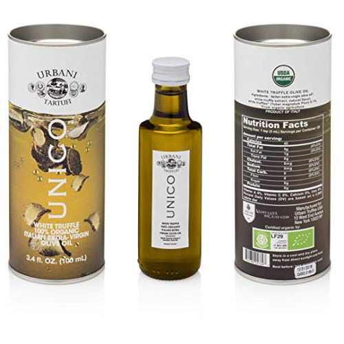 Italian White Truffle Extra Virgin Olive Oil - 3.38 Oz - by Urbani Truffles. Organic Truffle Oil 100% Made In Italy Without Chemicals And With Real Truffle Pieces Inside The Bottle. No Artificial Aroma