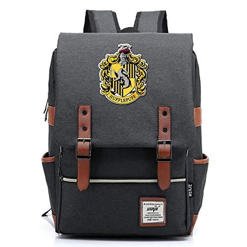 MMZ Casual School Bag Hufflepuff Backpack for Boys and Girls Harry Potter Rucksack for Men and Women Medium Dark Gray