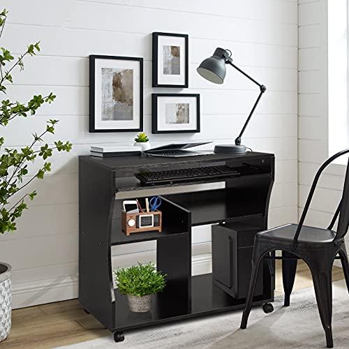 Yosoo - Escritorio para ordenador y oficina con repisa corrediza para teclado, con ruedas, negro, 86x76x54cm 🔥