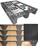 Cenni 12080 Set 5 Bancali Pallet in Plastica 1200 x 800 con 3 Traverse e Tappetino Auto in omaggio, Made in Italy
