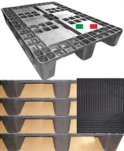 Cenni 12080 Set 5 Bancali Pallet in Plastica 1200 x 800 con 3 Traverse e Tappetino Auto in omaggio, Made in Italy