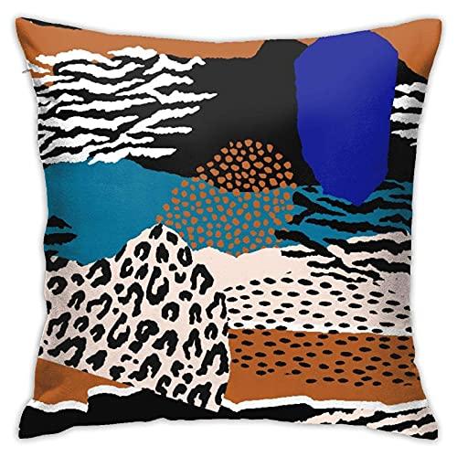 Fundas de almohada decorativas cuadradas con cremallera, diseño de piel de animal de leopardo, protectores de almohada estándar de 18 x 18 pulgadas