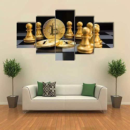 baixiangguo Tablero De Ajedrez Y Bitcoin De Oro Cuadros Decoracion Salon 5 Piezas Modernos Mural Fotos para Salon, Dormitorio, Baño, Comedor (con Marco) -100 x 55 cm