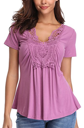 MISS MOLY Bluse Damen Elegant Kurzarm Lässige Oberteile T-Shirt Hell Violett Small