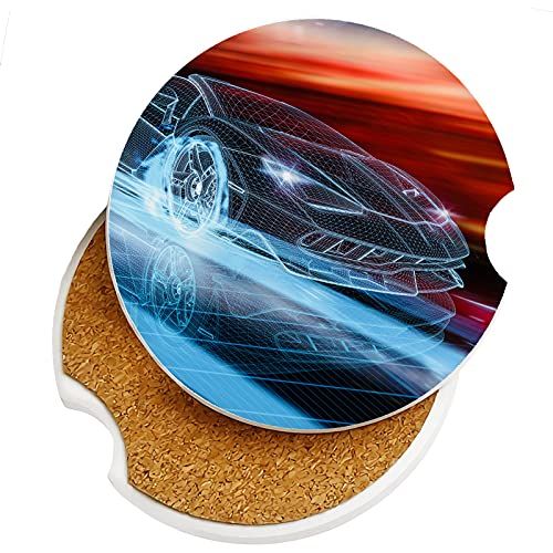 High Speed Sport Car in Motion Car Coasters 2 Pack Ceramic Stone Auto Cupholder Absorbent Coaster Set Sandstone Drink Cup Holder 2.56' for Women Men