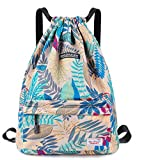 Waterproof Drawstring Bag, Gym Bag Sackpack Sports Backpack for Men Women Girls (50-Gray leaf)