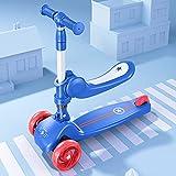 Patinete plegable adecuado para niños de 1 a 6 años, patinete para principiantes, 3 ruedas luminosas, material PP ecológico, manillar de aleación de aluminio, altura ajustable -B/A