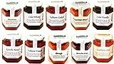 Gourmet Marmeladen 10er Paket 10 x 200g | Fruchtaufstriche, Fruchtaufstrich, Himbeer Marmelade, Gojibeeren Marmelade, Cola Gelee, Hagebutten Fruchtaufstrich, Sauerkirsch Fruchtaufstrich, Kirsch Fruchtaufstrich, besondere Marmelade, -