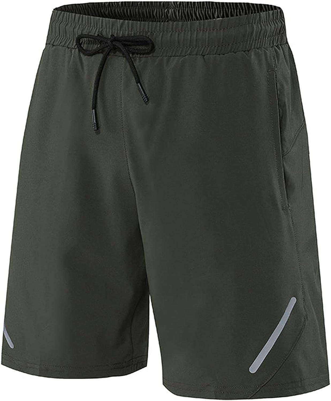 ZCAITIANYA Men's Sport Shorts Solid Summer Quick Dry Lightweight Elastic Waist Running Jogging Fitness with Pockets
