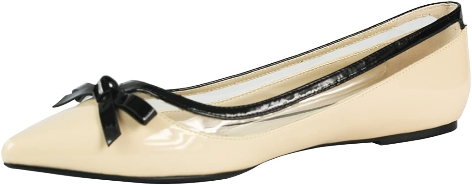 Cracens Ladies Nude Ballerina Pumps shoes with Bow Summer Ballet Flats