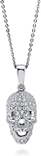 Rhodium Plated Sterling Silver Cubic Zirconia CZ Skull Bones Fashion Pendant Necklace - Halloween Jewelry