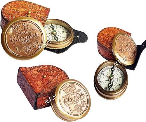 Nautische antieke messing kompas vintage directionele zak kompas met lederen tas