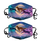 DIY Fantasy Protective Cover, 2 Packs of Cloth headscarves, Neck Scarf, face mask, dust, Balaclava, Men, Women, Children (Multi-Wolf, M)