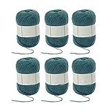 Ovillo de lana para tejer y ganchillo mezclado 3 capas suave set verde oliva verde paquete de 6 bolas