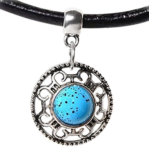 Live It Style It New Leather Choker Charm Necklace Vintage Hippy Retro Black Cord Faux Turquoise