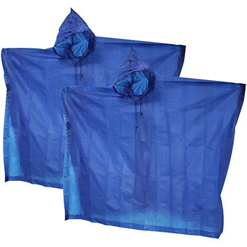 com-four® 2X Regenponcho mit Kapuze - Regenschutz mit extra starkem Mehrweg-Poncho - Notfallponcho für Konzert, Stadion, Wandern, Camping