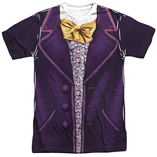 Willy Wonka And The Chocolate Factory - Disfraz de Wonka (impresin delantera trasera), color blanco - Blanco - X-Large