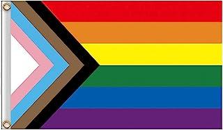 MEYING Bandera LGTB, Rainbow Flag, Bandera Gay Grande para Exterior Reforzada Y con 2 Ojales Metálicos, Gay Pride Bandera,...