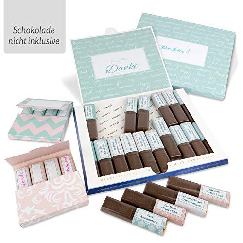 Netti Li Jae - Juego de pegatinas con precintos y cajas para el chocolate Merci - para 3 regalos personalizados - idea de regalo personal - agradecimiento regalos