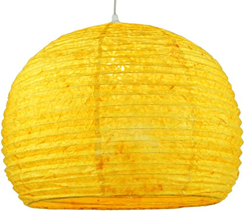 Guru-Shop Halbrunder Lokta Papierlampenschirm, Hängelampe Corona Ø 40 cm - Gelb, Lokta-Papier, Asiatische Deckenlampen aus Papier & Stoff