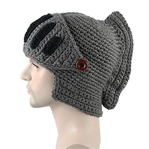 DDD123 Handmade Beanie Knit Funny Hat, Cosplay Roman Knight Kostümkappen, Unisex Thermal Wolly Cap für Frauen und Männer (D)