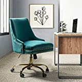 Home Office Chair Velvet Fabric Modern Nailhead Swivel Desk Chair with Comfy Seat and Gold Base in Teal Blue