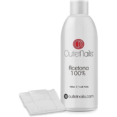 Acetona 100% Pura 100ml de alta calidad + 10 Celulosas   Ideal para retirar Esmaltes Permanentes   Made in Spain