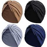 4 Piezas Gorro Turbante para Mujeres Gorro de Nudo Pre Atado Suave Pañuelo de Cabeza Plisada de Moda Gorra de Dormir, 4 Colores (Negro, Caqui, Azul Marino, Gris)