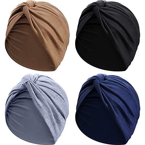 SATINIOR 4 Stücke Turbane für Frauen Soft Vorgebunden Knot Mode Plissee Turban Hut Mütze Kopfwickel Schlafmütze, 4 Farben (Schwarz, Khaki, Marineblau, Grau)