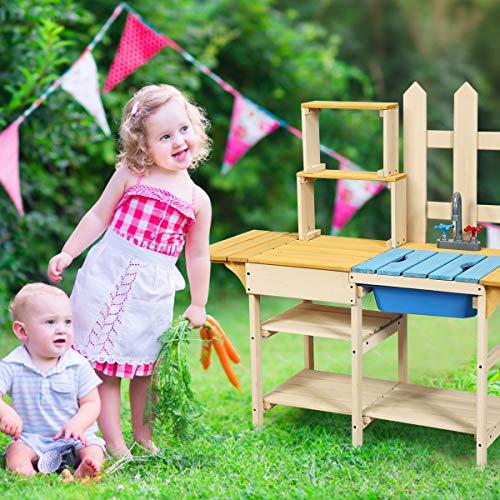 COSTWAY Matschküche mit Wasserhahn, Kinderküche Holz, Outdoor Küche, Holzküche, Spielküche, Spielzeugküche für Kinder ab 3 Jahren, 109 x 38 x 100 cm - 2