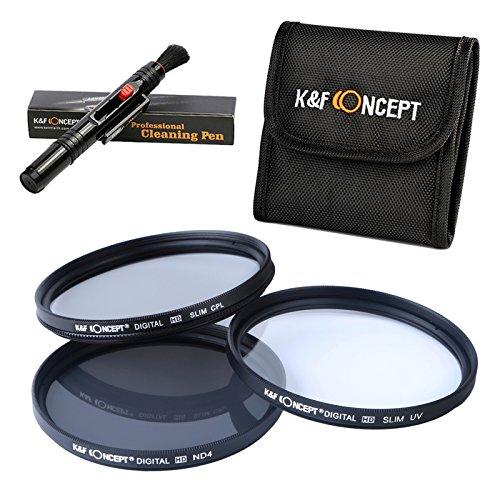 K&F Concept 72mm Objektiv Filterset 72mm UV CPL ND4 Filter Set 72mm Schutzfilter Polfilter 72mm Filter für Canon Nikon Sony DSLR Kamera mit Reinigungsstift und Filtertasche