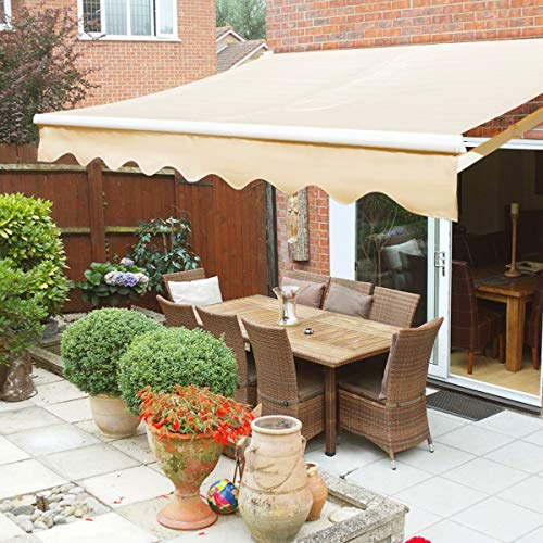 XtremepowerUS Retractable Patio Sun Shade Awning Cover UV- & Water-Resistant Fabric Aluminum Frame Crank Handle (8' x 6')