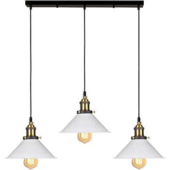 /Ø 22cm Noir iDEGU 3 Lampes Suspension Luminaire Industrielle Lustre Plafonniers Design Edison M/étal Lustre Suspension avec Support en Barre