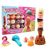BigOtters Ice Cream Toy, Sweet Treats Ice Cream Tower Balancing Game Stacking Game Ice Cream Parlor Pretend Play Food Decorating Kit for Kids Birthday Present