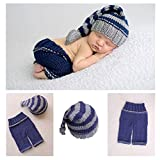 Newborn Baby Photo Shoot Props Girl Boy Crochet Knit Hat Costume Stripe Hat Pants Overalls Photography Props (Multicolor)