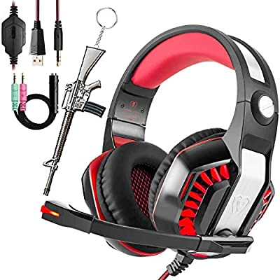 Pro Gaming Headset for PC PS4 Xbox One with Mic Over-Ear Headphones for Laptop Computer Games with Noise Cancelling Stereo 50mm Driver Memory Earmuffs Volume Control Gift for Kids Boy Teens from Gxbluemaster