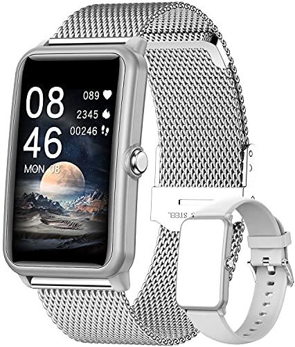 Smartwatch,1.57 Zoll Touchscreen Fitness Armbanduhr, Fitness Tracker mit Pulsuhr, IP68 Wasserdicht Sportuhr mit Schrittzähler Schlafmonitor, Smart Watch für Damen Herren für Android iOS (Silber)