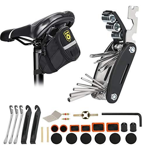 LINGSFIRE 28 STK Fahrrad Satteltasche mit 16 in 1 Werkzeuge Fahrrad Reparatur Set umfassen Fahhradtasche und Werkzeugsets Fahrradventil Adapter die Fahrrad-Reparatur für Mountainbikes und Rennräder
