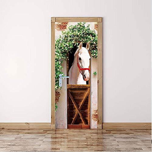 FCFLXJ 3D Türaufkleber für Innentüren, Weiße Pferdestall DIY Tür Wandmalereien Foto gedruckt Selbstklebende Wandbilder wasserdichte Tür Aufkleber Vinyl Tür Tapete für Schlafzimmer Badezimme 90*200CM